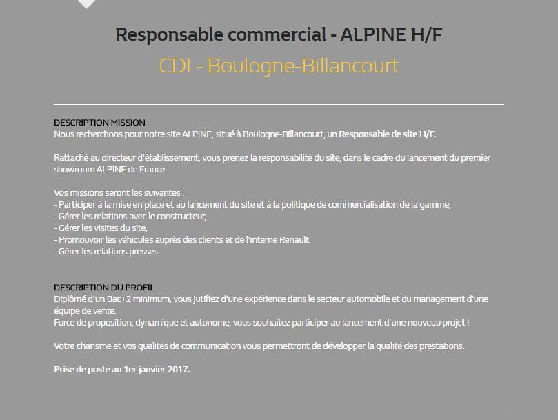 Alpine Renault - Offre d'emploi @Silly, Gallieni et le quai