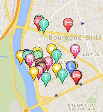 La carte interactive de Silly, Gallieni et le quai : événement, commerces, services