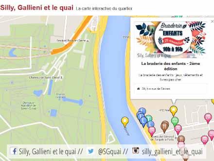 La carte de la braderie des enfants @Silly, Gallieni et le quai