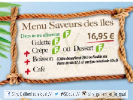 Menu Saveurs des îles - Crêperie Boulogne-Billancourt @Silly, Gallieni et le quai