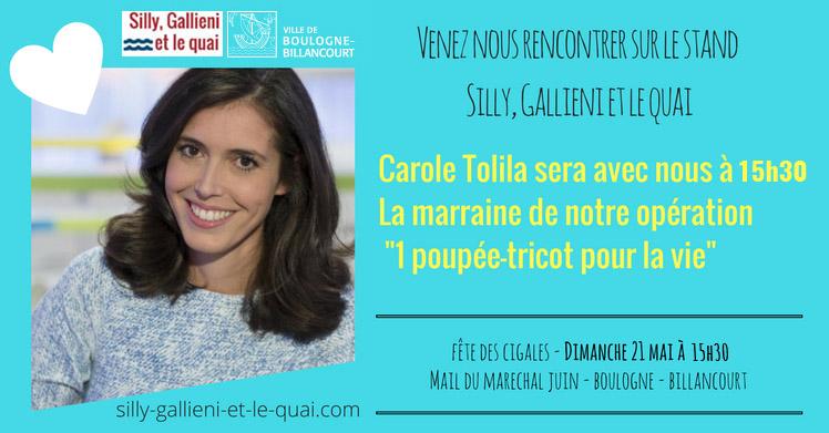 Carole Tolila, marraine d'1 poupée-tricot pour la vie @Silly, Gallieni et le quai