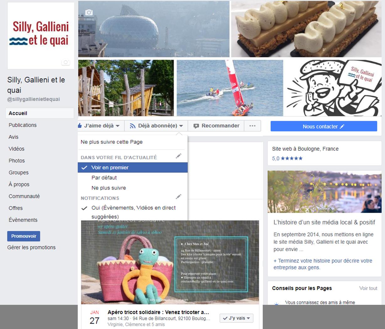 Facebook : comment mieux voir nos informations @Silly, Gallieni et le quai