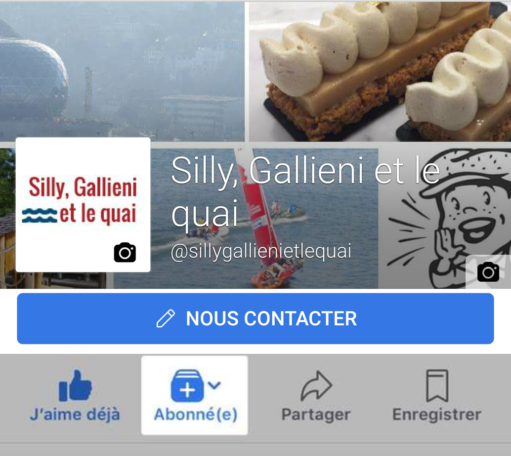Facebook sur mobile @Silly, Gallieni et le quai