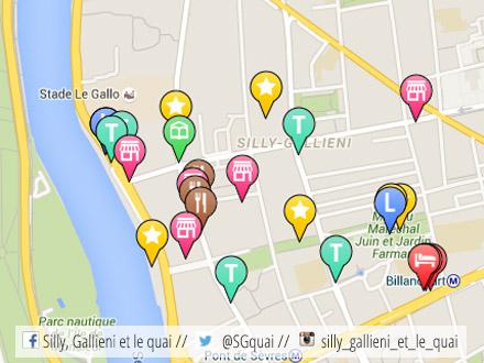Carte interactive : commerces, services, événements... @Silly, Gallieni et le quai