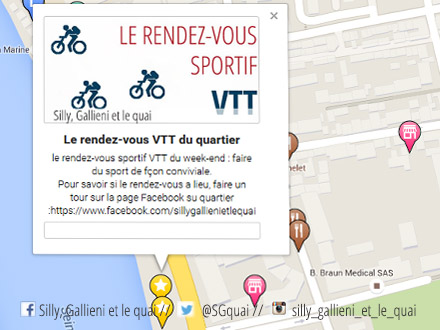 La carte interactive du rendez-vous VTT du week-end @Silly, Gallieni et le quai