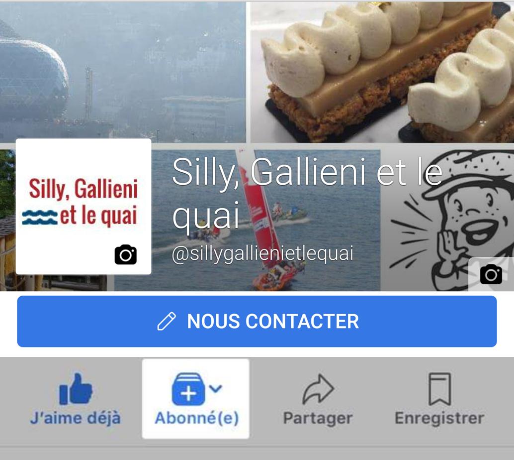 Facebook sur mobile @Silly, Gallieni et le quai